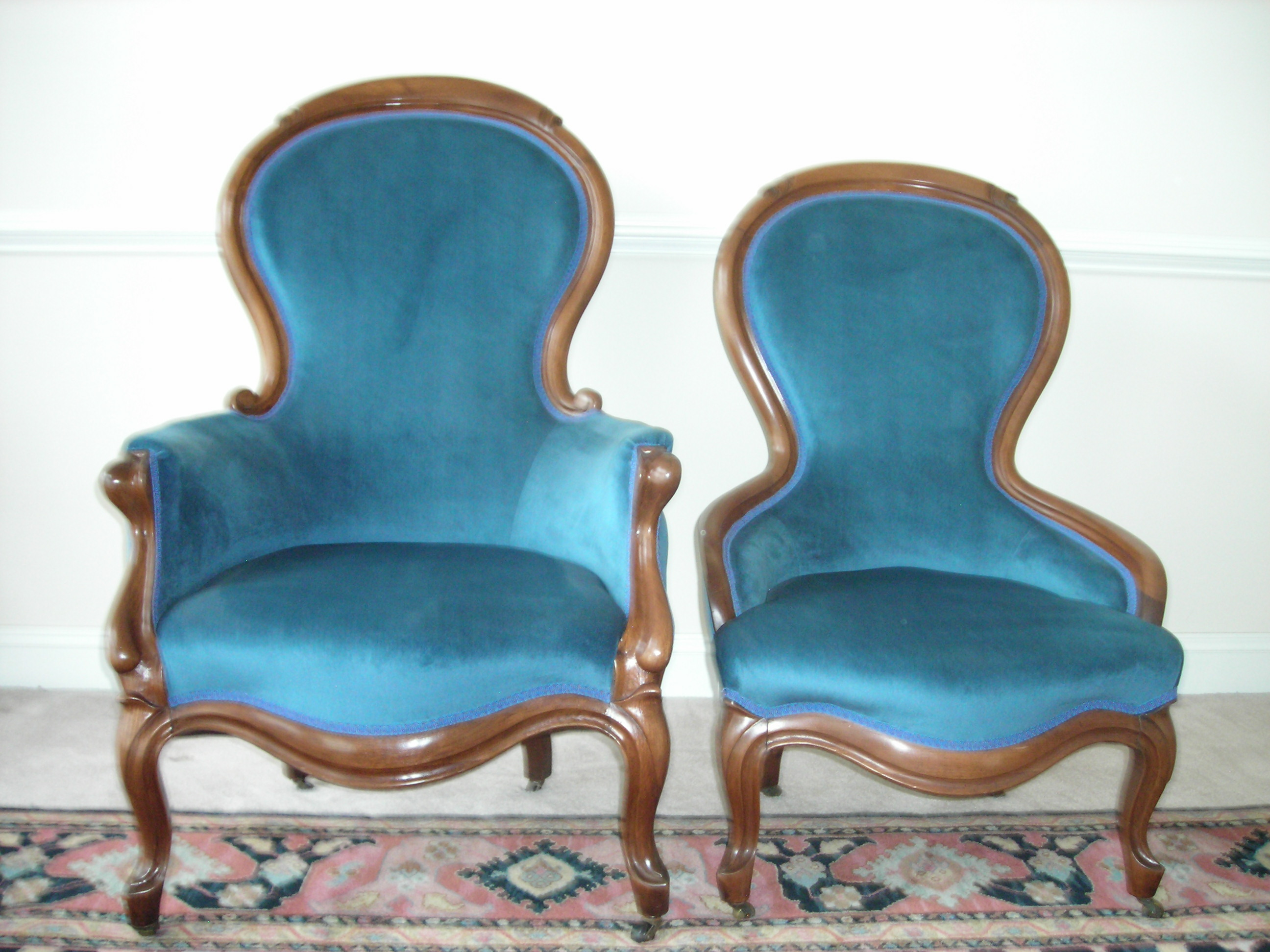 Victorian Gentlemanu0027s (L) And Ladyu0027s (R) Chairs
