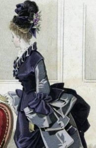Lady in dress of the first bustle period, 1873